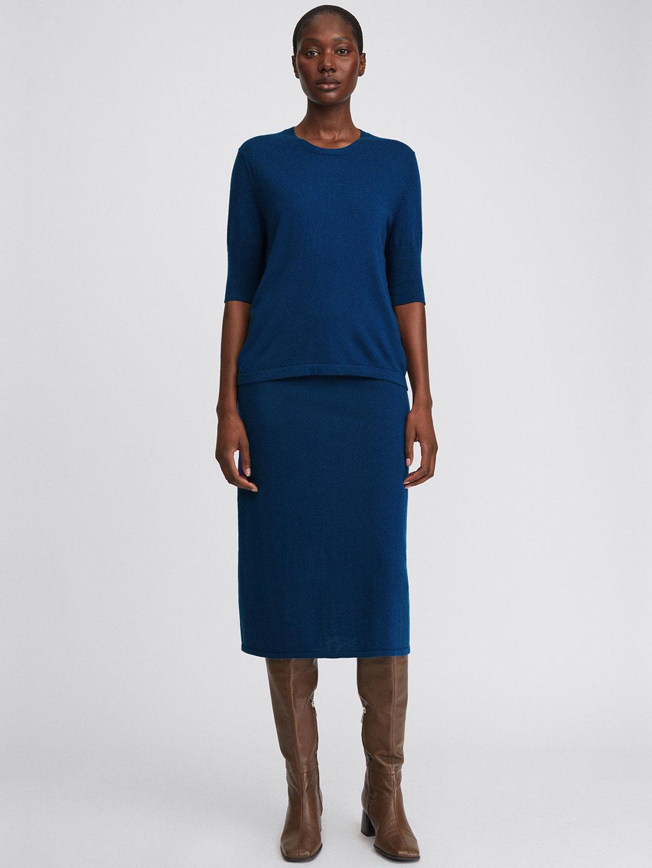 A1084-Honor-Knitted-Skirt-Filippa-K-Marin-Blue-Front-Full-Body