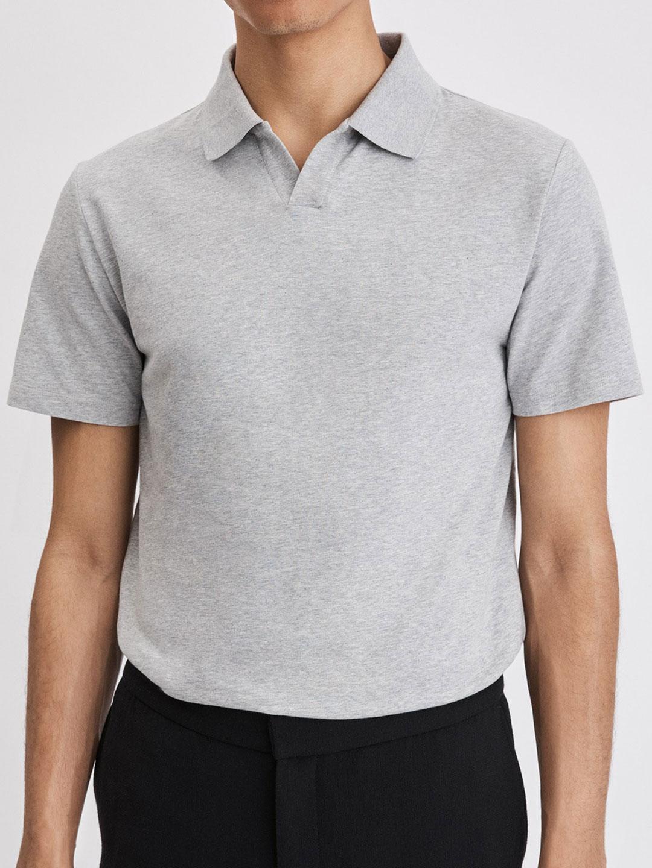 B1112-Lycra-Polo-T-Shirt-Filippa-K-Lt-Grey-Melange-Front
