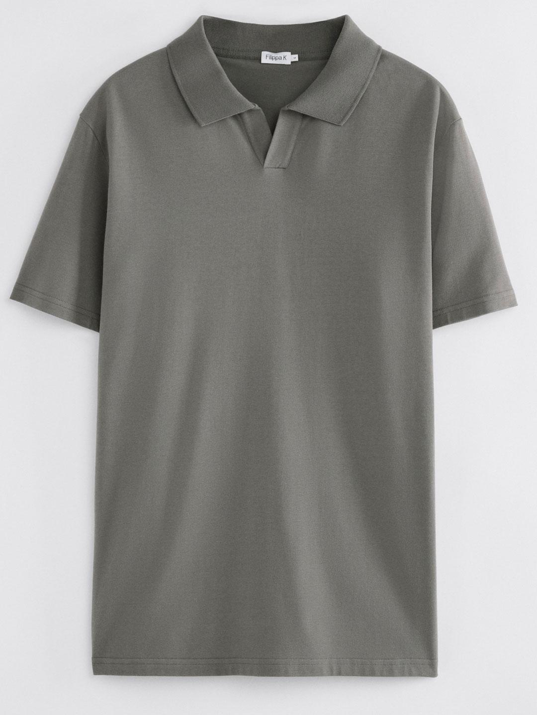 B1355-Lycra-Polo-T-Shirt-Filippa-K-Green-Grey-Front-Flat-Lay