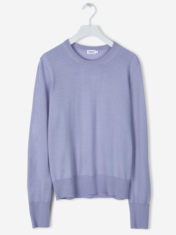 S0118-Merino-R-neck-Sweater-Filippa-K-Hyacinth-Flat-Lay